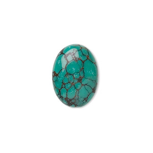 cabochon, turquoise (dyed / stabilized), 18x13mm calibrated oval, b grade, mohs hardness 5 to 6. sold individually.