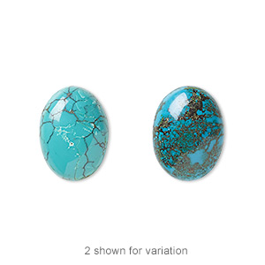 cabochon, turquoise (dyed / stabilized), blue, 16x12mm calibrated oval, c grade, mohs hardness 5 to 6. sold individually.