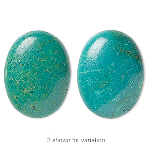 cabochon, turquoise (dyed / stabilized), blue, 30x22mm calibrated oval, c grade, mohs hardness 5 to 6. sold individually.