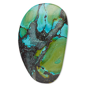 cabochon, turquoise (dyed / stabilized), green, 60x25mm-80x70mm non-calibrated freeform, c+ grade, mohs hardness 5 to 6. sold individually.