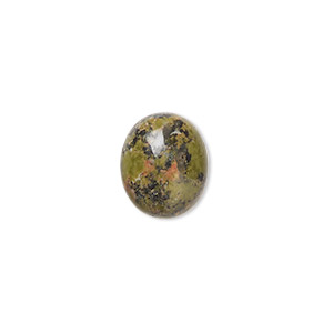 cabochon, unakite (natural), 12x10mm calibrated oval, b grade, mohs hardness 6 to 7. sold per pkg of 10.