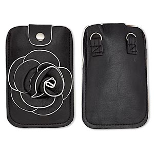 cell phone pouch, polyurethane / cotton / silver-finished steel, black and white, 5-3/4 x 3-3/4 inches with rose design and magnetic closure with 46-inch strap. sold individually.
