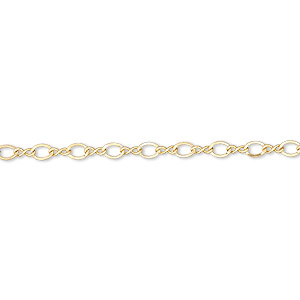 chain, 14kt gold-filled, 2.25mm flat figure 8. sold per pkg of 5 feet.