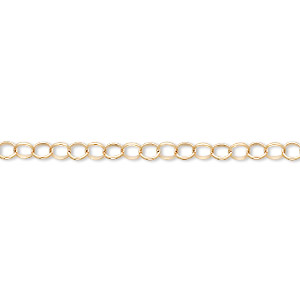 chain, 14kt gold-filled, 3.1mm round cable. sold per pkg of 5 feet.