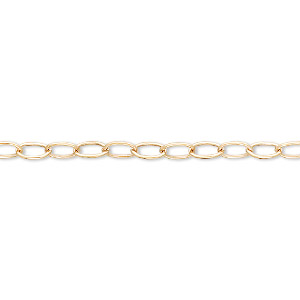 chain, 14kt gold-filled, 5x3mm oval cable. sold per pkg of 5 feet.