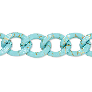 chain, aluminum, crackle turquoise blue and gold, 13mm curb. sold per pkg of 24 inches.