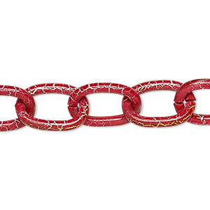 chain, aluminum, crackled red / white / yellow, 12mm cable. sold per pkg of 24 inches.
