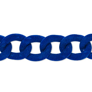 chain, aluminum, flocked cobalt, 13mm curb. sold per pkg of 24 inches.