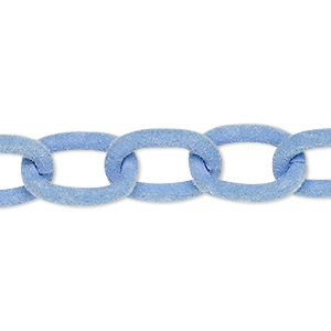 chain, aluminum, flocked lavender, 12mm cable. sold per pkg of 24 inches.