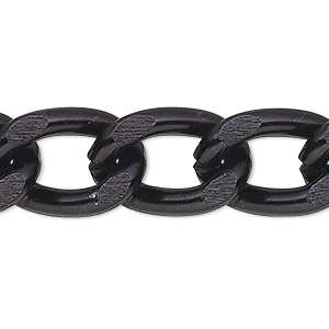 chain, anodized aluminum, black, 7mm curb. sold per pkg of 25 feet.