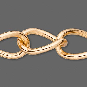 chain, anodized aluminum, gold, 23mm curb. sold per pkg of 25 feet.