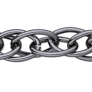 chain, anodized aluminum, gunmetal, 17mm double oval cable. sold per pkg of 5 feet.