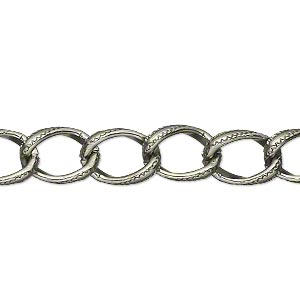 chain, anodized aluminum, gunmetal, 8mm textured curb. sold per pkg of 5 feet.
