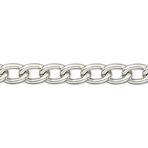 chain, anodized aluminum, silver, 5mm curb. sold per pkg of 25 feet.