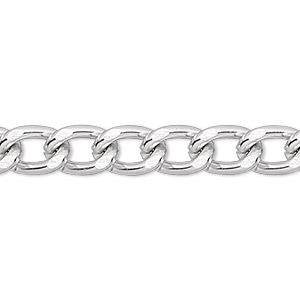 chain, anodized aluminum, silver, 7mm curb. sold per pkg of 5 feet.