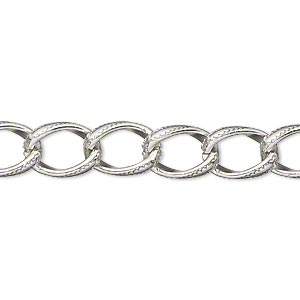 chain, anodized aluminum, silver, 8mm textured curb. sold per pkg of 5 feet.