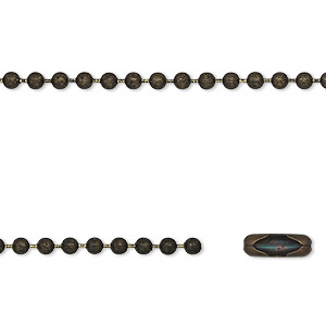 chain, antique brass-finished steel, 2.4mm ball, 27 inches with 2 connectors. sold individually.