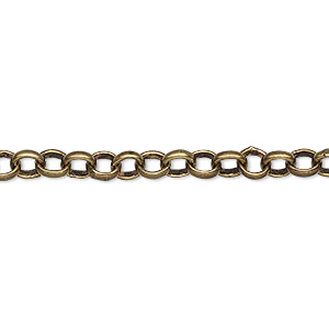 chain, antique brass-plated brass, 5mm rolo. sold per 50-foot spool.