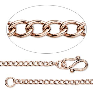 chain, antique copper-plated brass, 2.5mm curb, 18 inches with s-hook clasp. sold individually.