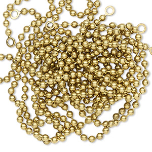 chain, antique gold-finished brass, 2mm ball, 17 inches. sold per pkg of 3.
