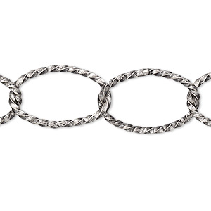 chain, antique silver-plated brass, 14mm twisted oval cable. sold per pkg of 5 feet.