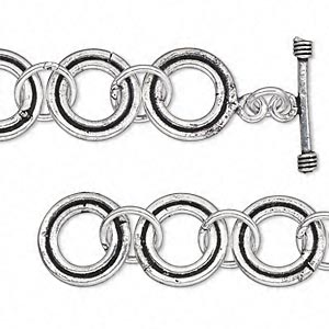 chain, antique silver-plated copper, 16mm round link, 6-1/2 inches with toggle clasp. sold individually.
