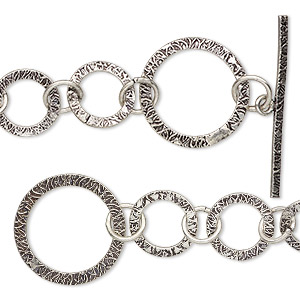 chain, antique silver-plated copper, 25mm textured round links, 6-1/2 inches with toggle clasp. sold individually.