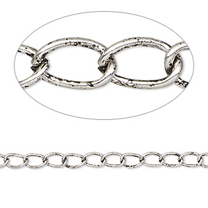 chain, antique silver-plated steel, 3mm curb. sold per pkg of 25 feet.