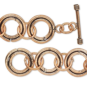 chain, antiqued copper, 16mm round link, 6-1/2 inches with toggle clasp. sold individually.