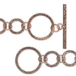 chain, antiqued copper, 25mm textured round link, 36 inches with toggle clasp. sold individually.