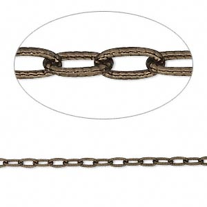 chain, antiqued vermeil, 4.5x2mm oval cable. sold per pkg of 5 feet.
