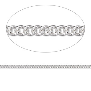 chain, argentium silver, 1.5mm curb. sold per pkg of 5 feet.