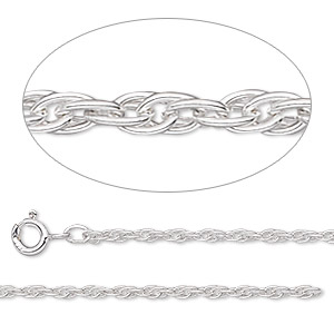 chain, argentium silver, 2mm triple rope, 18 inches with springring clasp. sold individually.