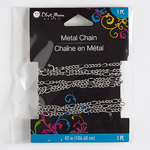 chain, blue moon beads, silver-finished steel, 2.5mm figaro. sold per pkg of 42 inches.