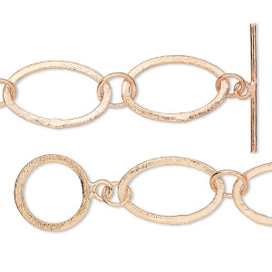 chain, copper, 16mm brushed long and short flat oval, 36 inches with toggle clasp. sold individually.