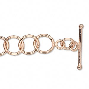 chain, copper-plated copper, 10mm round cable, 6-1/2 inches with toggle clasp. sold individually.