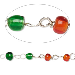chain, glass and silver-finished copper, translucent red and green, 4mm beaded round. sold per 26-inch strand.