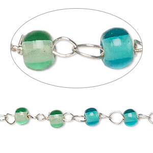 chain, glass and silver-finished copper, translucent teal blue and green, 4mm beaded round. sold per 26-inch strand.