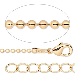 chain, gold-finished brass, 1.5mm ball, 7-1/2 inches with 1-1/4 inch extender chain and lobster claw clasp. sold per pkg of 6.