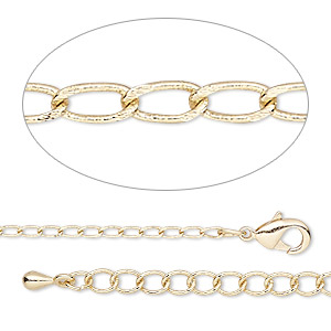 chain, gold-finished brass, 1.6mm flat curb, 18 inches with 2-inch extender chain and lobster claw clasp. sold individually.