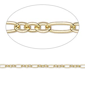 chain, gold-finished brass, 2.5mm figaro. sold per pkg of 5 feet.