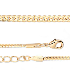 chain, gold-finished brass, 2mm curb, 16 inches with 1-1/4 inch extender chain and lobster claw clasp. sold per pkg of 2.
