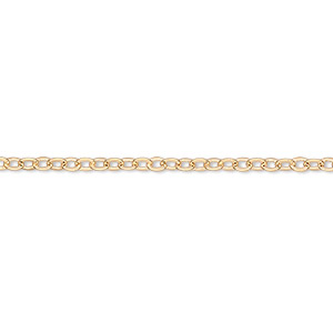 chain, gold-finished brass, 2mm flat cable, 7 inches with 1-1/4 inch extender chain and lobster claw clasp. sold per pkg of 6.