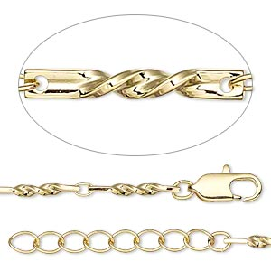 chain, gold-finished brass, 3x2mm oval and 14x2mm twisted flat rectangle, 36 inches with 1-1/4 inch extender chain and lobster claw clasp. sold individually.