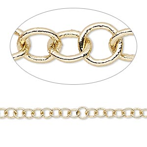 chain, gold-finished brass, 4mm round cable. sold per pkg of 5 feet.