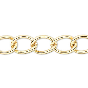 chain, gold-finished brass, 9mm curb. sold per pkg of 5 feet.