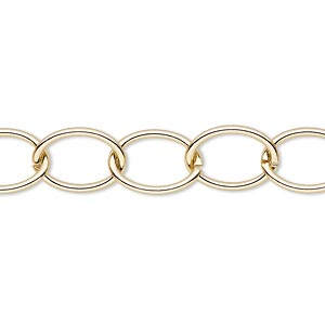 chain, gold-finished steel, 10mm oval cable. sold per pkg of 5 feet.