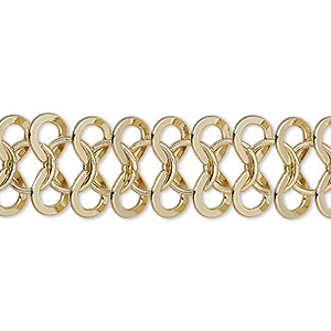chain, gold-finished steel, 15mm infinity link with 8mm round. sold per pkg of 5 feet.