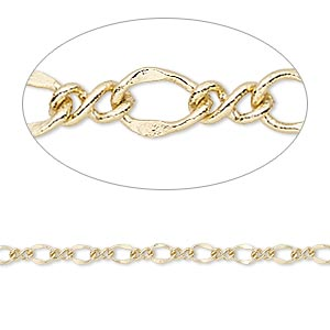 chain, gold-finished steel, 3mm flat figure 8. sold per pkg of 5 feet.