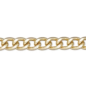 chain, gold-finished steel, 7mm flat curb. sold per pkg of 5 feet.